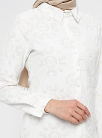 White - Yellow - Floral - Point Collar - Blouses