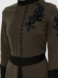 Khaki - Floral - Polo neck - Unlined - Dress