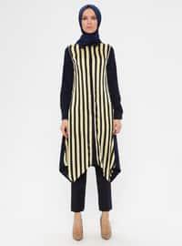 Black - Yellow - Stripe - Point Collar - Tunic