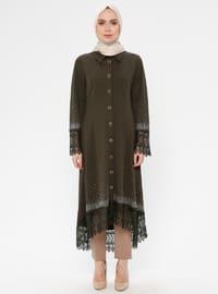 Khaki - Unlined - Point Collar - Abaya