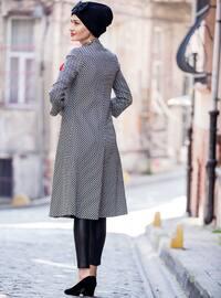 Black - White - Fully Lined - V neck Collar - Topcoat
