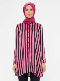 Black - Fuchsia - Stripe - Crew neck - Tunic