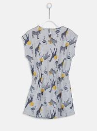 Anthracite - Printed - Girls` Dress