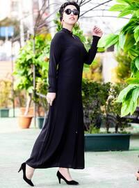 Siyah - Astarsız kumaş - Çin yakalı - Ferace
