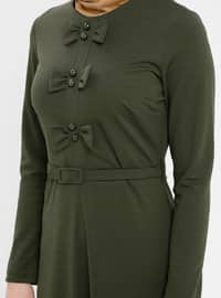 Khaki - Crew neck - Unlined - Dress