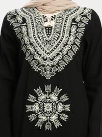 Black - Crew neck - V neck Collar - Unlined - Cotton - Dress