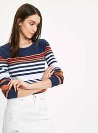 Navy Blue - Stripe - T-Shirt