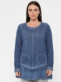 Blue - Navy Blue - Indigo - Crew neck - Acrylic -  - Plus Size Tunic