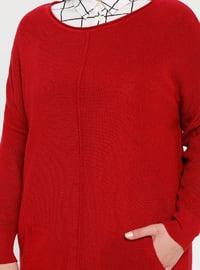 Red - Crew neck - Acrylic -  - Plus Size Tunic