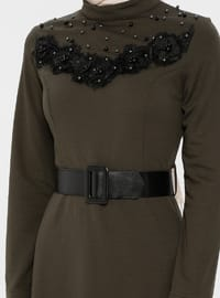 Khaki - Polo neck - Unlined - Dress