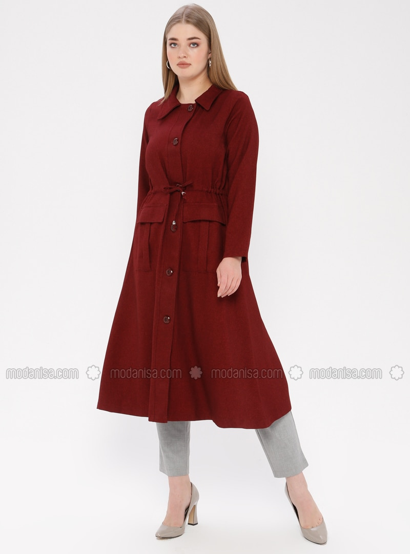 Maroon - Unlined - Point Collar - Plus Size Coat