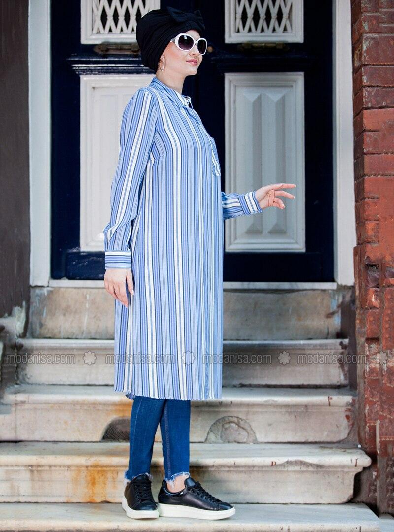 Blue - White - Stripe - Point Collar - Tunic