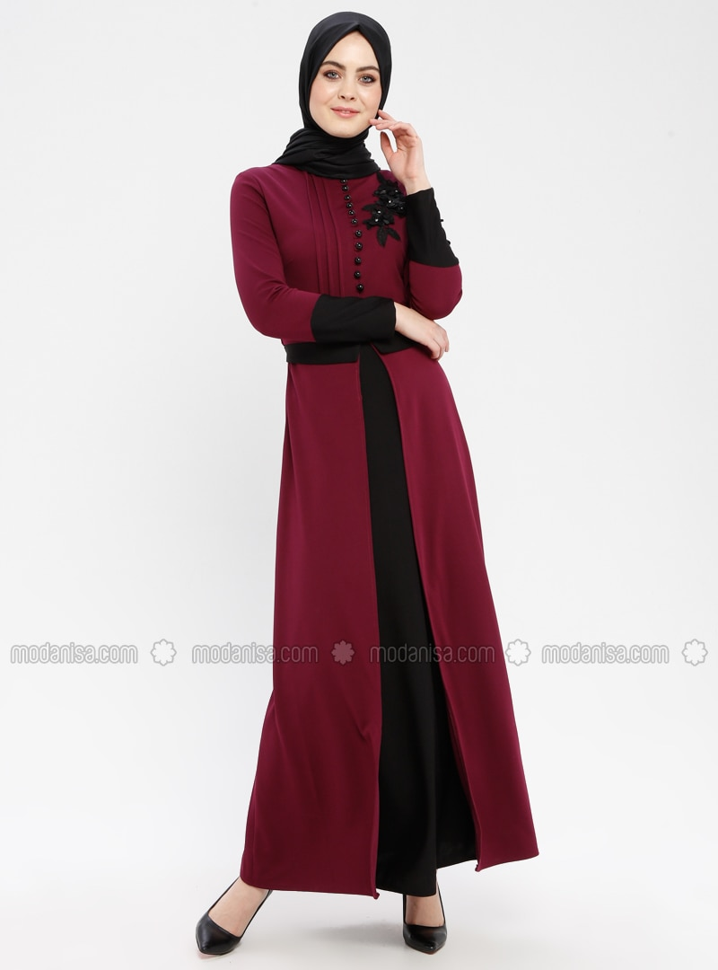Plum - Floral - Polo neck - Unlined - Dress