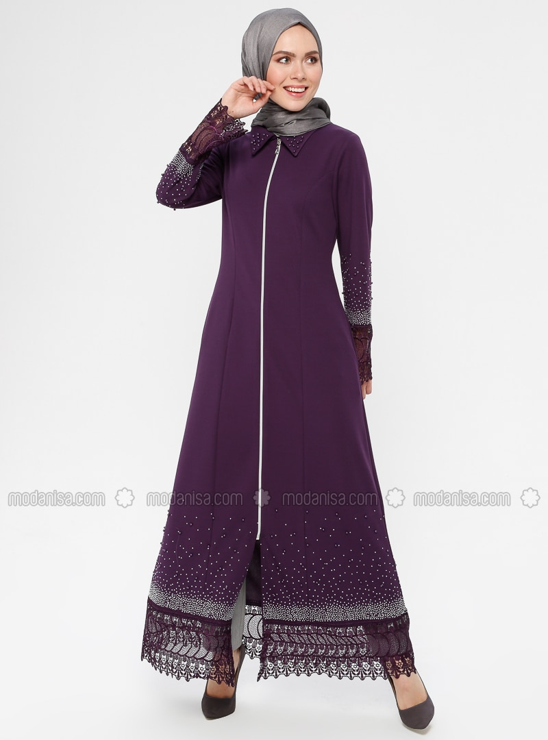 Purple - Unlined - Point Collar - Abaya