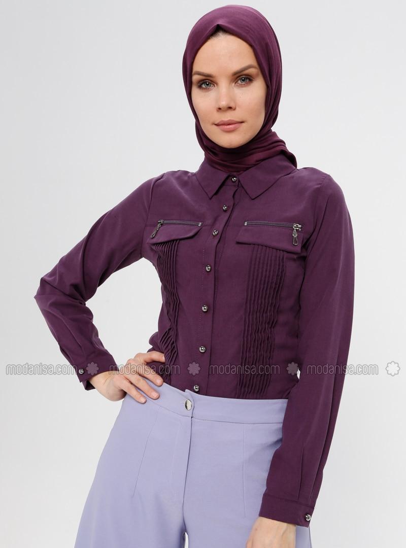 Purple - Point Collar - Blouses