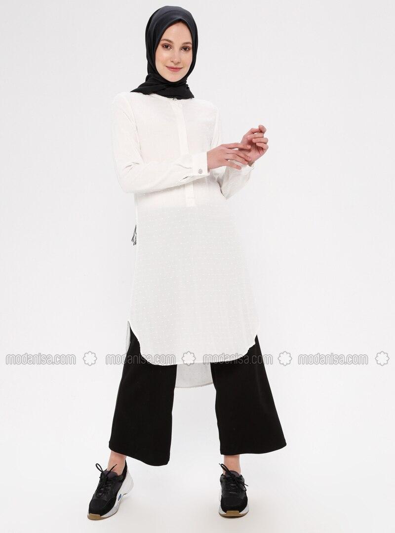 Ecru - Button Collar - Viscose - Tunic