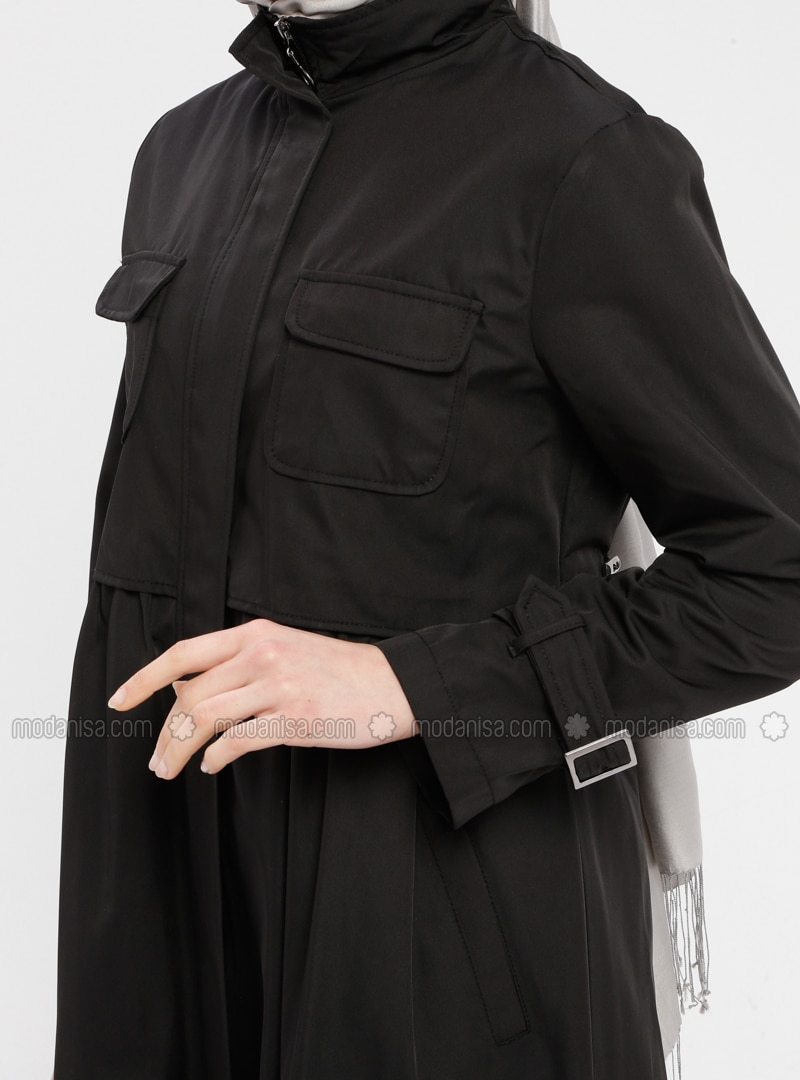 e1cdbed87 Black - Fully Lined - Polo neck - Denim - Trench Coat
