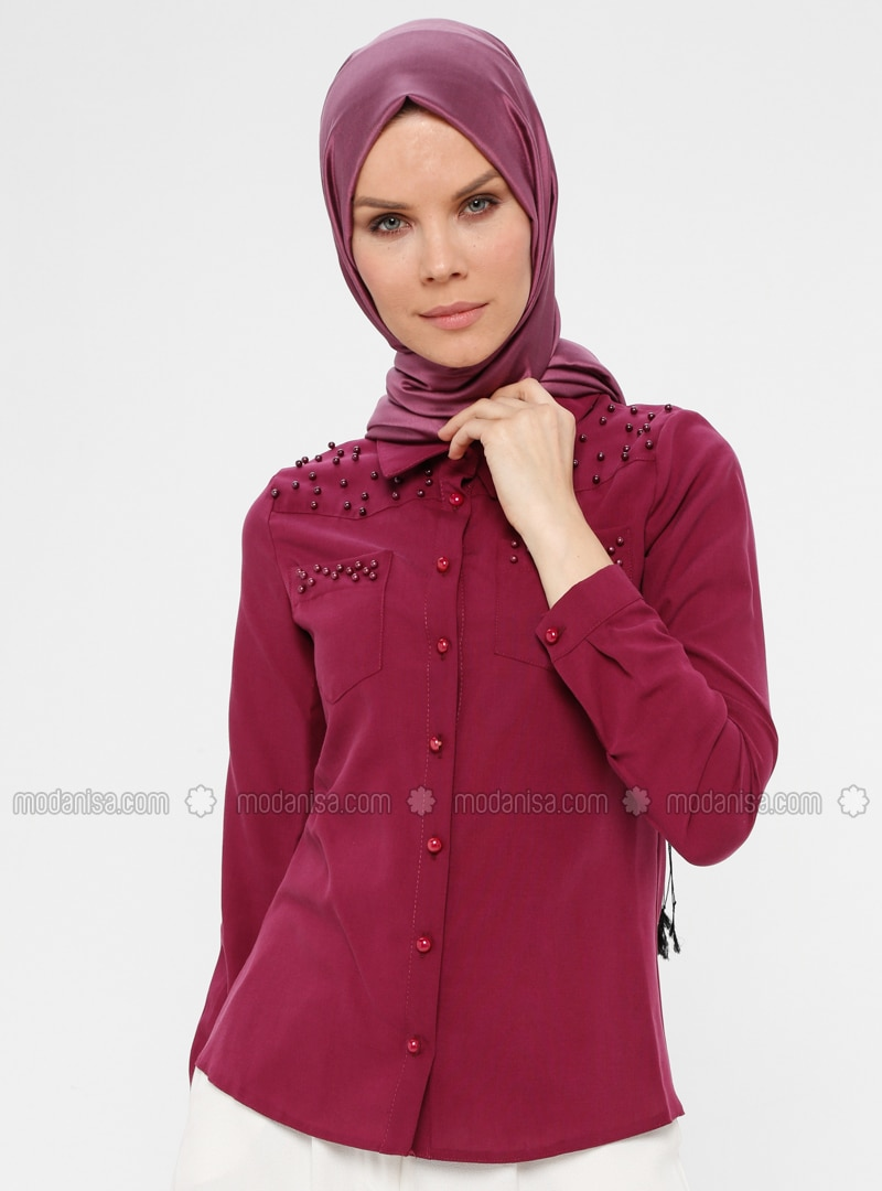 Maroon - Point Collar - Blouses