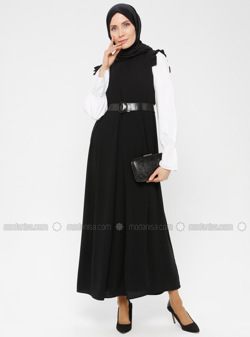 Black - Round Collar - Unlined - Crepe - Dress