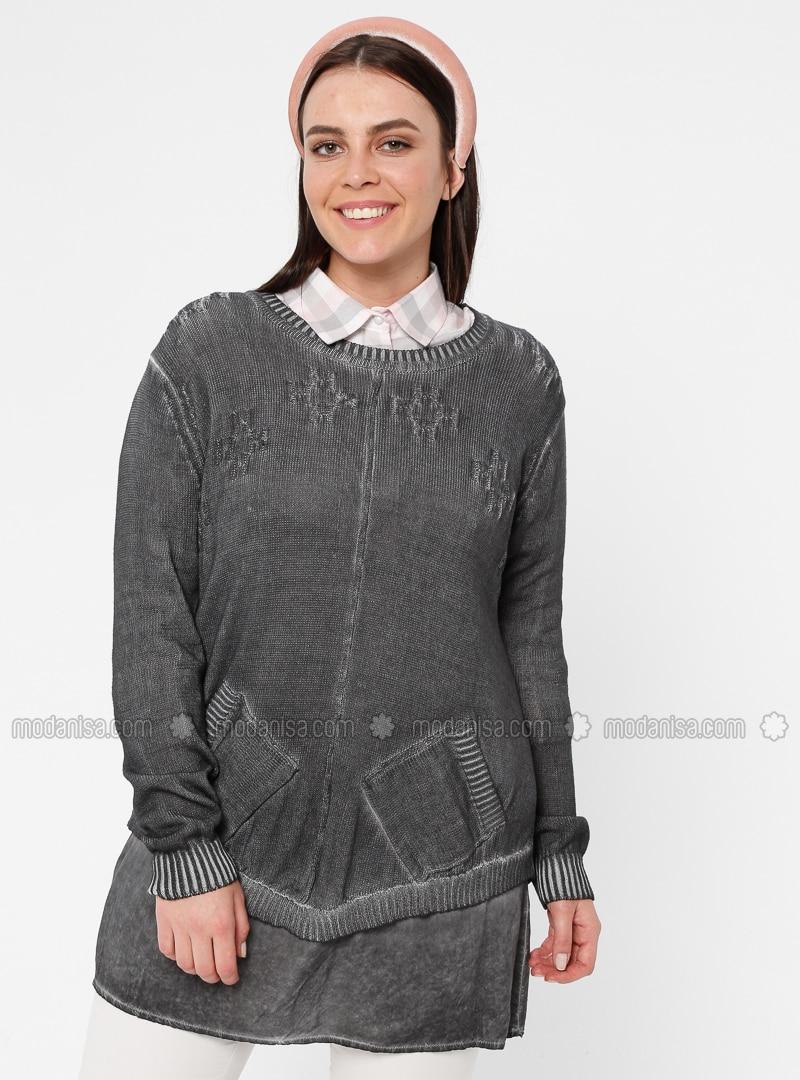 Gray - Anthracite - Crew neck - Acrylic -  - Plus Size Tunic