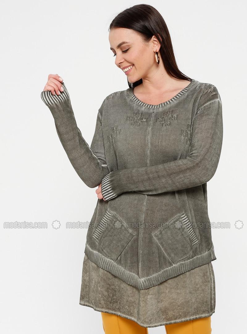 Khaki - Crew neck - Acrylic -  - Plus Size Tunic