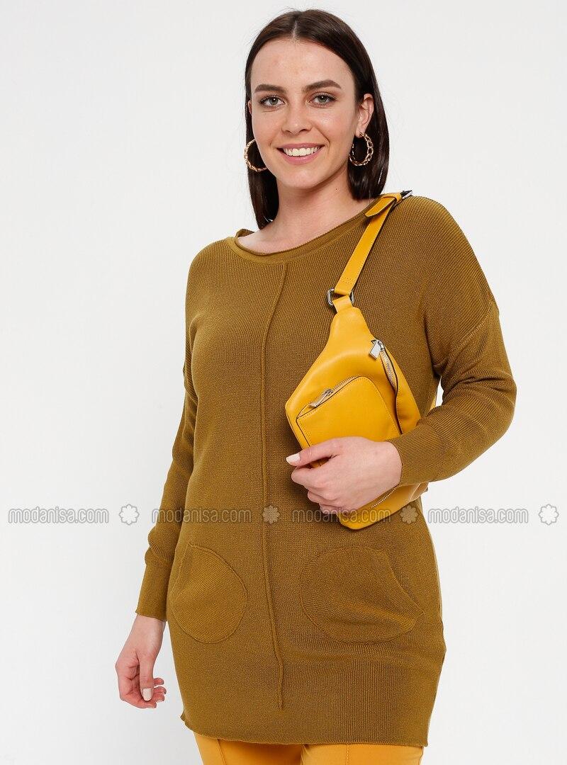 Yellow - Brown - Mustard - Crew neck - Acrylic -  - Plus Size Tunic