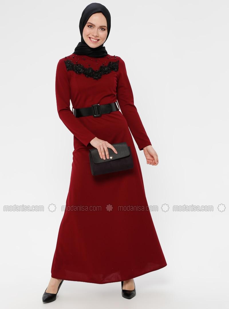 Maroon - Polo neck - Unlined - Dress
