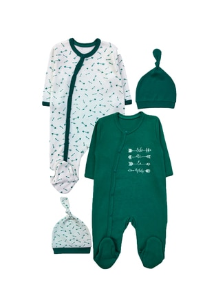 Multi - Crew neck - Cotton - Green - Baby Suit - BY LEYAL