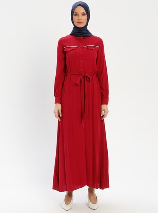 Maroon - Point Collar - Unlined - Viscose - Dress