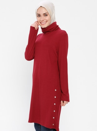 Maroon - Polo neck - Tunic