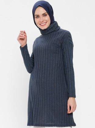 Navy Blue - Polo neck - Cotton -  - Tunic