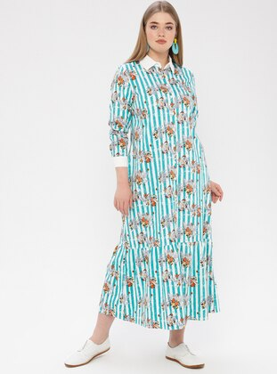 Mint - Multi - Point Collar - Unlined - Dress