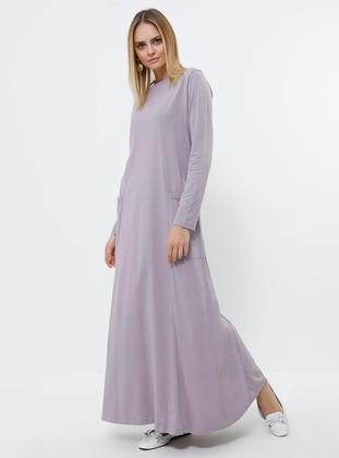 Lilac - Crew neck - Unlined - Cotton - Dress