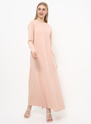 Pink - Crew neck - Unlined - Cotton - Dress