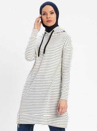 Cream - Stripe - Cotton - Tunic