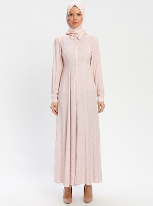 Powder - Floral - Point Collar - Unlined - Viscose - Dress