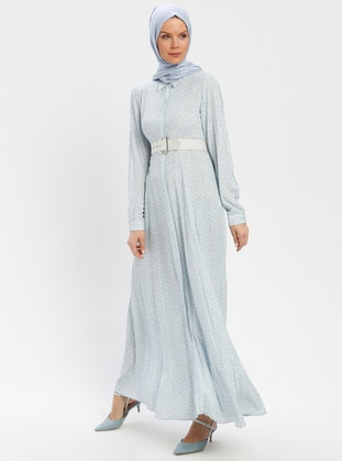Baby Blue - Floral - Point Collar - Unlined - Viscose - Dress