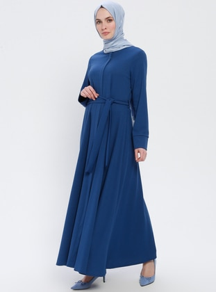 Blue - Navy Blue - Indigo - Unlined - Crew neck - Abaya