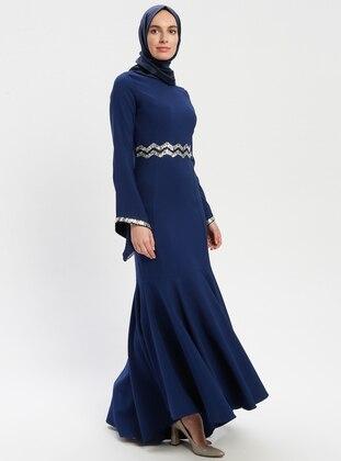 Blue - Navy Blue - Indigo - Crew neck - Unlined - Muslim Evening Dress