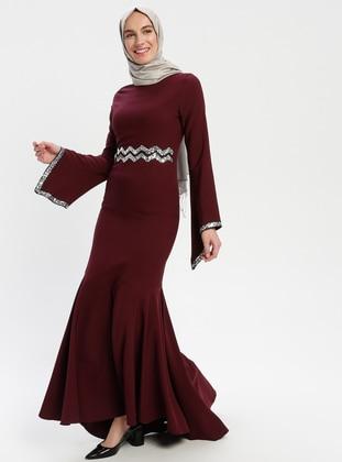Maroon - Cherry - Unlined - Crew neck - Muslim Evening Dress