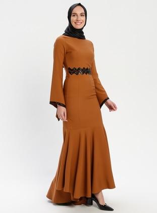 Tan - Crew neck - Unlined - Muslim Evening Dress
