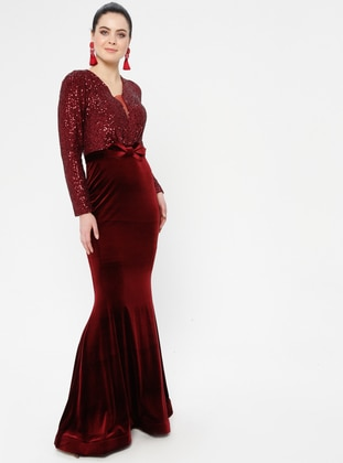 Maroon - Bowtie - Unlined - V neck Collar - Muslim Evening Dress