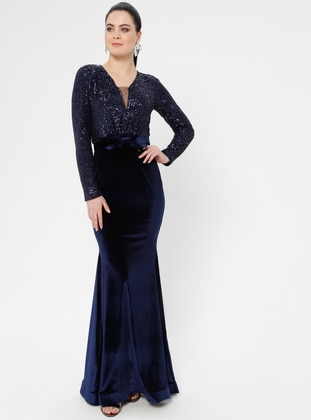 Navy Blue - Bowtie - Unlined - V neck Collar - Muslim Evening Dress
