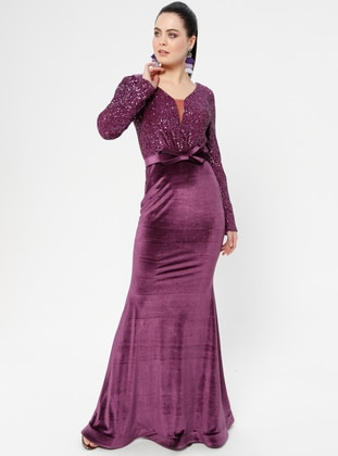 Purple - Bowtie - Unlined - V neck Collar - Muslim Evening Dress