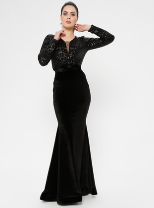 Black - Bowtie - Unlined - V neck Collar - Muslim Evening Dress