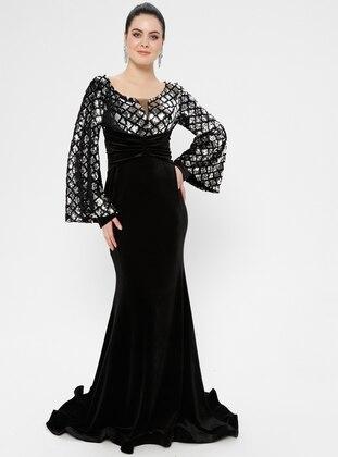 Black - Silver tone - Geometric - Unlined - V neck Collar - Muslim Evening Dress