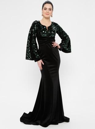 Green - Geometric - Unlined - V neck Collar - Muslim Evening Dress