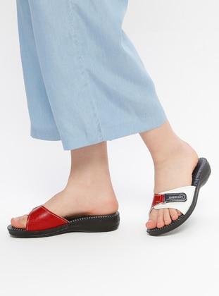 Red - White - Navy Blue - Sandal - Slippers