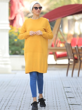 Mustard - Crew neck -  - Tunic - Por La Cara