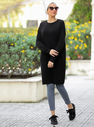 Black - Crew neck -  - Tunic - Por La Cara